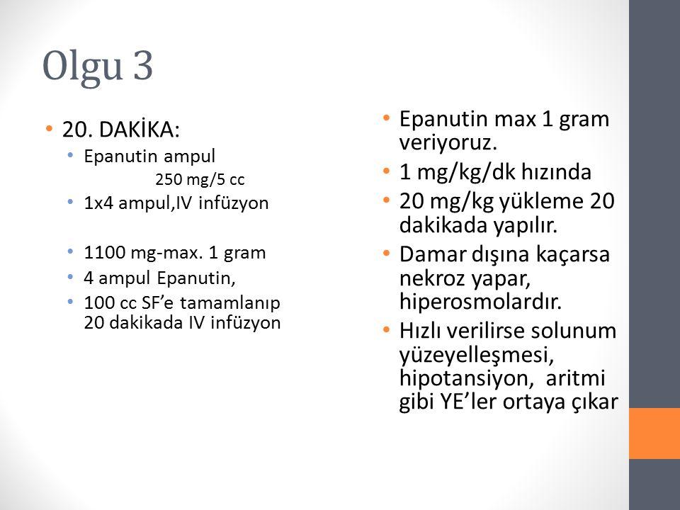 Olgu 3 Epanutin max 1 gram veriyoruz. 20. DAKİKA: 1 mg/kg/dk hızında