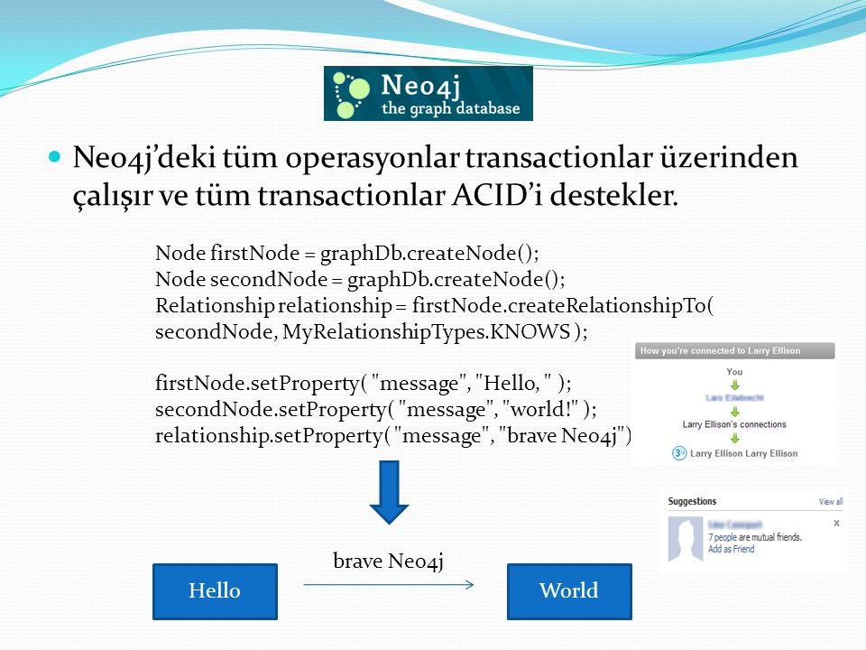 Neo4j'deki tüm operasyonlar transactionlar üzerinden çalışır ve tüm transactionlar ACID'i destekler.