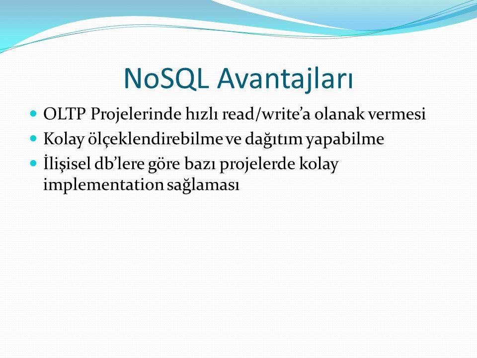 NoSQL Avantajları OLTP Projelerinde hızlı read/write'a olanak vermesi