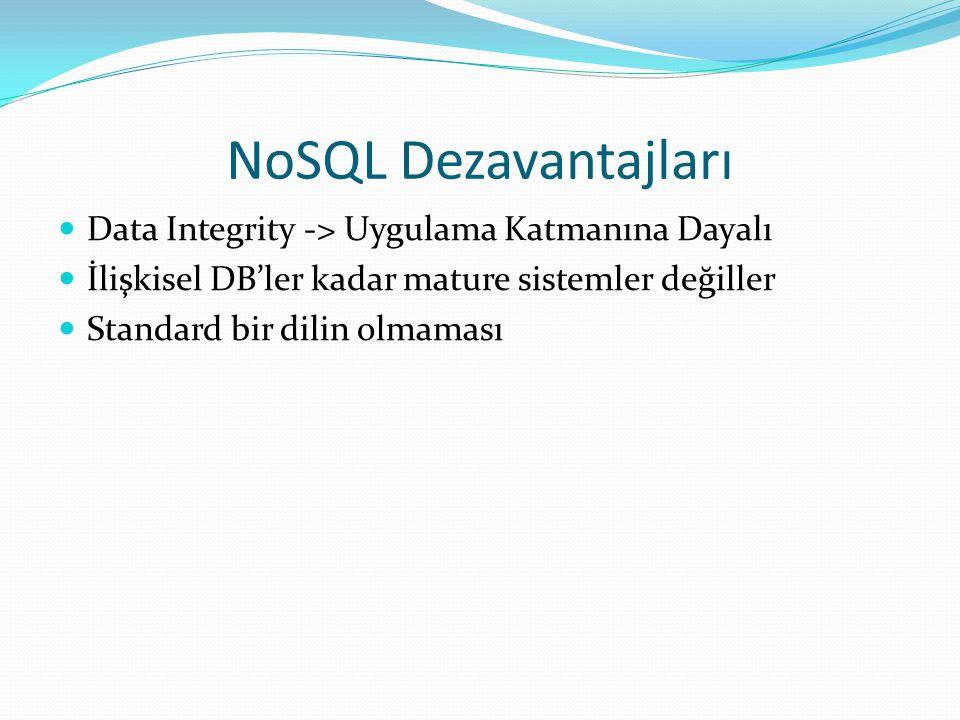NoSQL Dezavantajları Data Integrity -> Uygulama Katmanına Dayalı