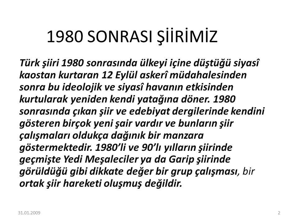 1980 SONRASI ŞİİRİMİZ