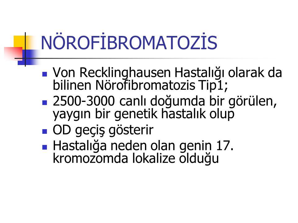 NÖROFİBROMATOZİS Von Recklinghausen Hastalığı olarak da bilinen Nörofibromatozis Tip1;