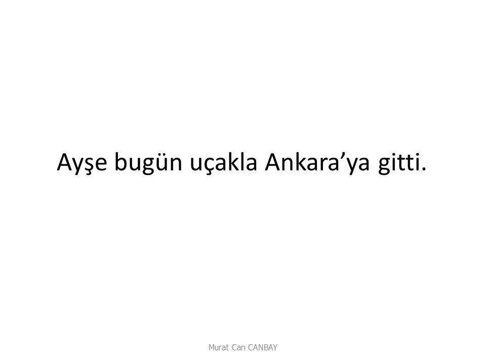 Ayşe bugün uçakla Ankara'ya gitti.