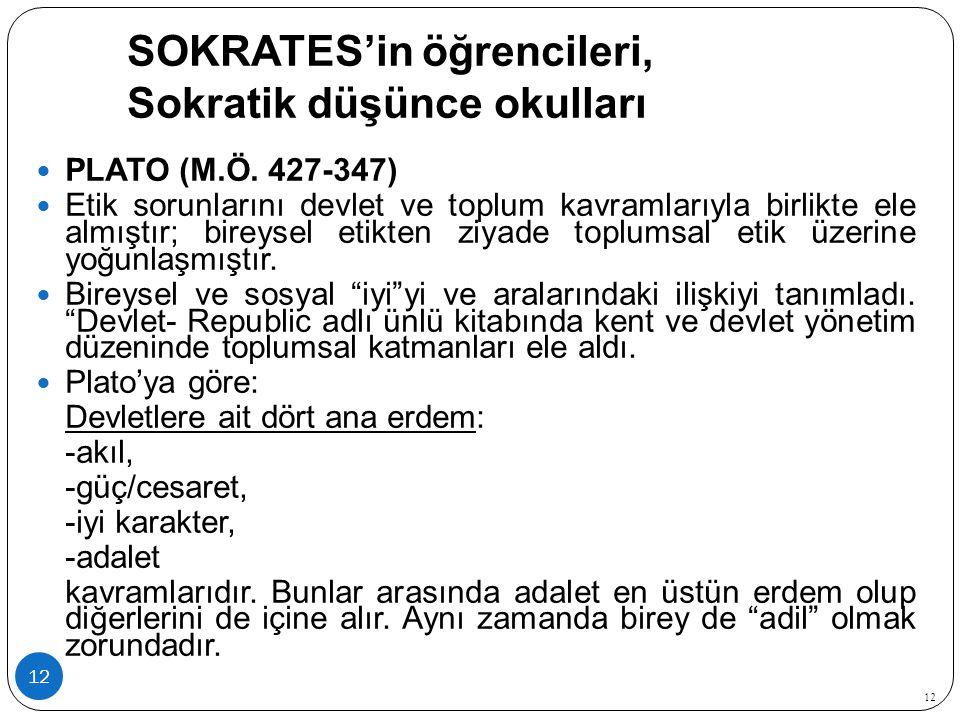 SOKRATES'in öğrencileri, Sokratik düşünce okulları