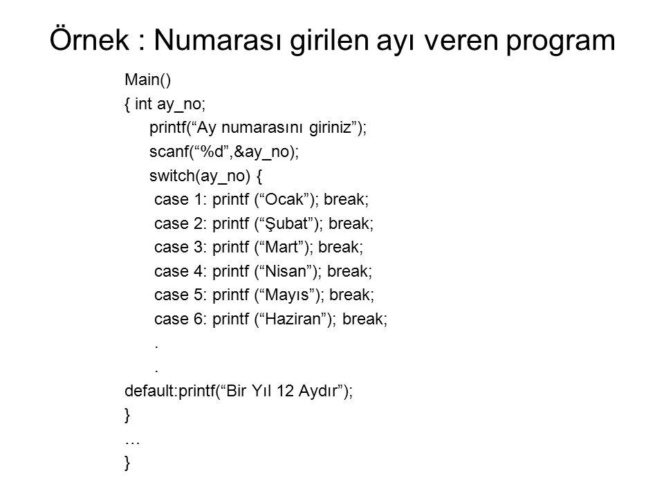 Örnek : Numarası girilen ayı veren program