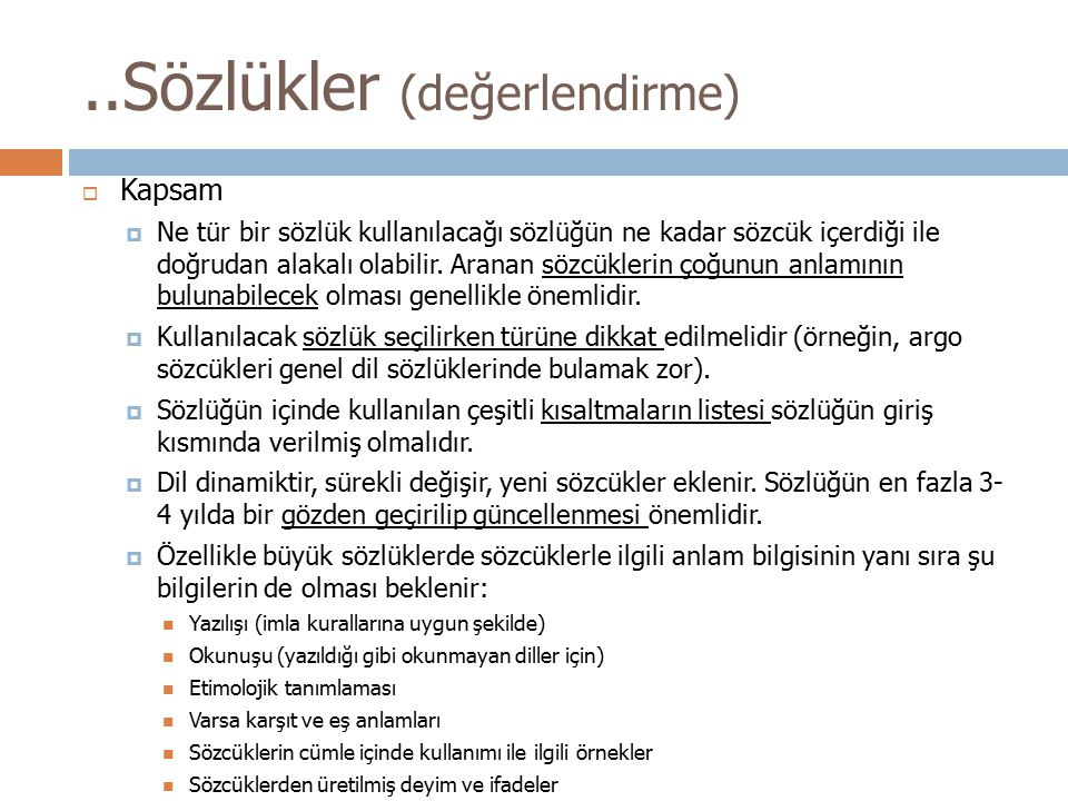 ..Sözlükler (değerlendirme)