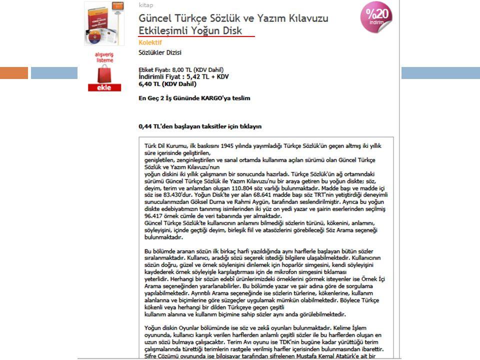 TDK sanal mağazada basılı Güncel Türkçe Sözlük ve CD-Rom versiyonu.