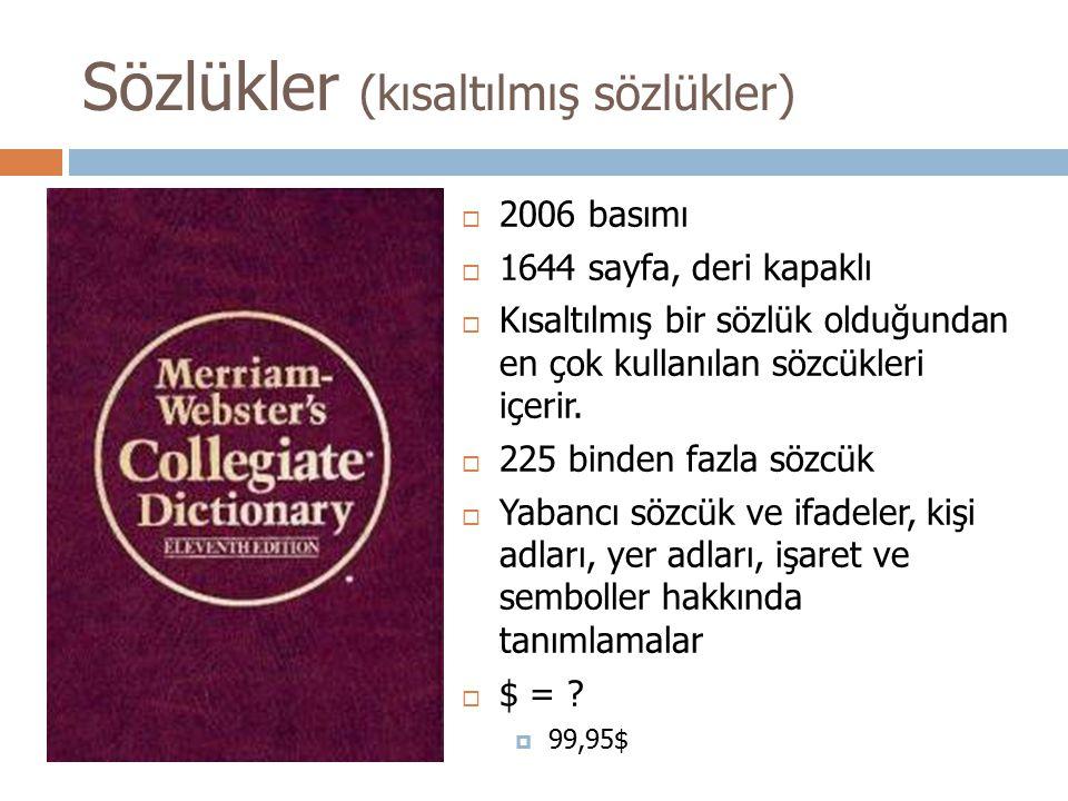 Sözlükler (kısaltılmış sözlükler)
