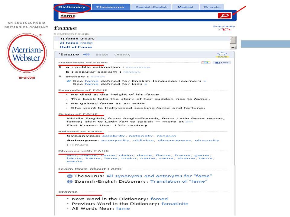 Merriam-Webster's sözlüğünden ( Dictionary ) 2011 yılında yapılan bir aramanın ekran görüntüsü (aranan sözcük fame )