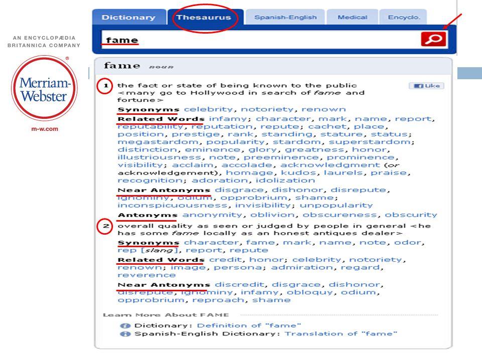 Merriam-Webster's Thesaurus'undan 2011 yılında yapılan bir aramanın ekran görüntüsü (aranan sözcük fame )