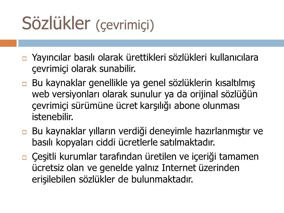 Sözlükler (çevrimiçi)