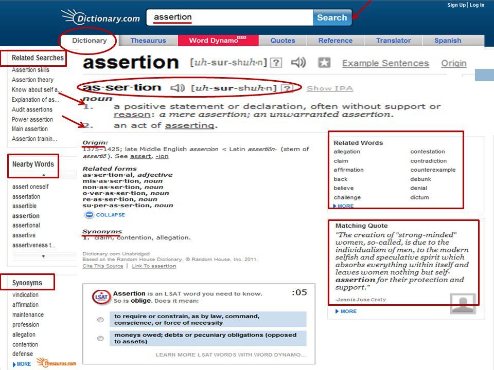 Dictionary.com'da 2011 yılında yapılan bir aramanın ekran görüntüsü (sözcük assertion )