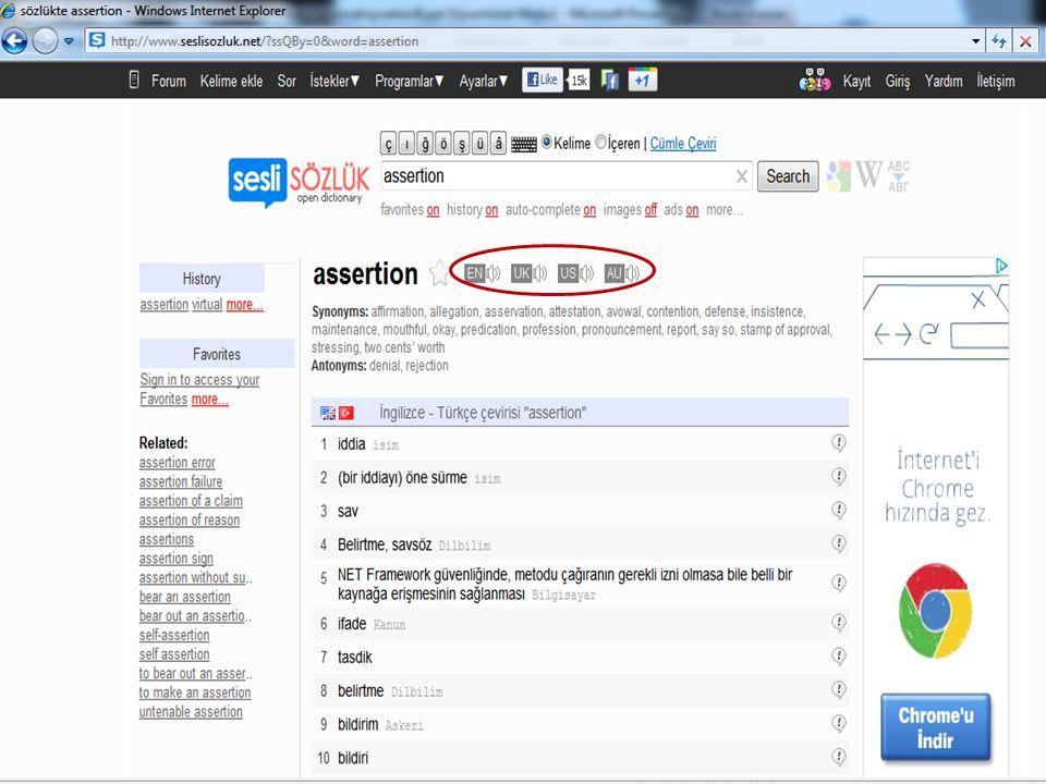 Seslisozluk.net'te 2011 yılında yapılan bir aramanın ekran görüntüsü (sözcük assertion )
