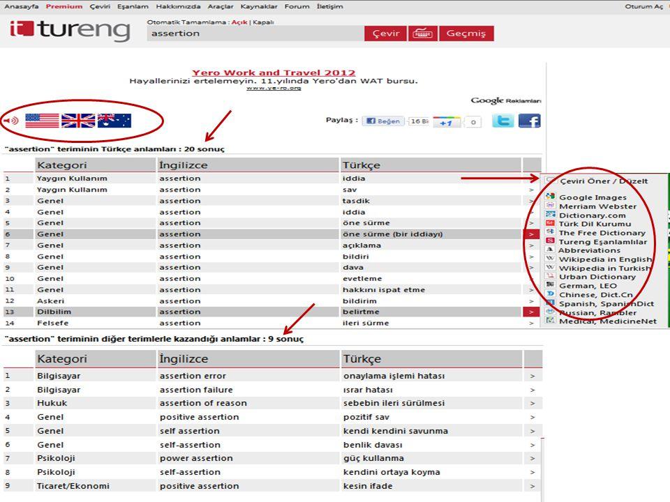 Tureng.com'da 2011 yılında yapılan bir aramanın ekran görüntüsü (sözcük assertion )