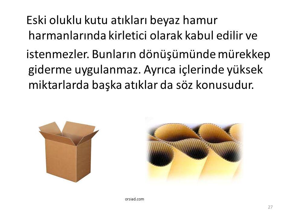 Eski oluklu kutu atıkları beyaz hamur harmanlarında kirletici olarak kabul edilir ve istenmezler. Bunların dönüşümünde mürekkep giderme uygulanmaz. Ayrıca içlerinde yüksek miktarlarda başka atıklar da söz konusudur.