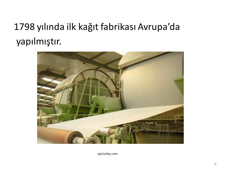 1798 yılında ilk kağıt fabrikası Avrupa'da yapılmıştır.