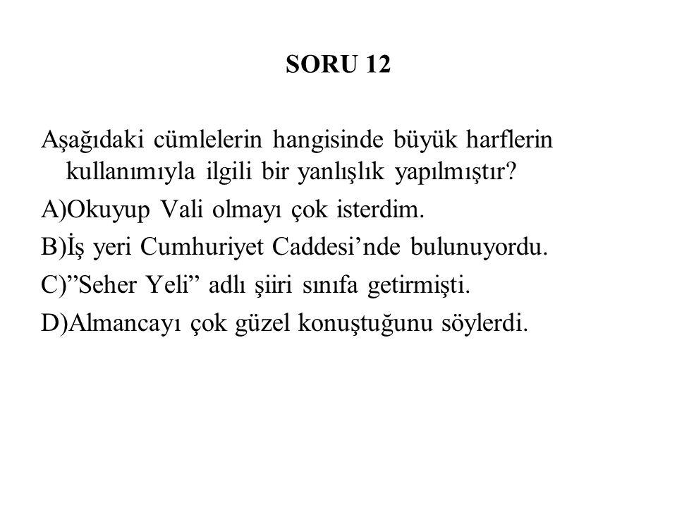 SORU 12 Aşağıdaki cümlelerin hangisinde büyük harflerin kullanımıyla ilgili bir yanlışlık yapılmıştır