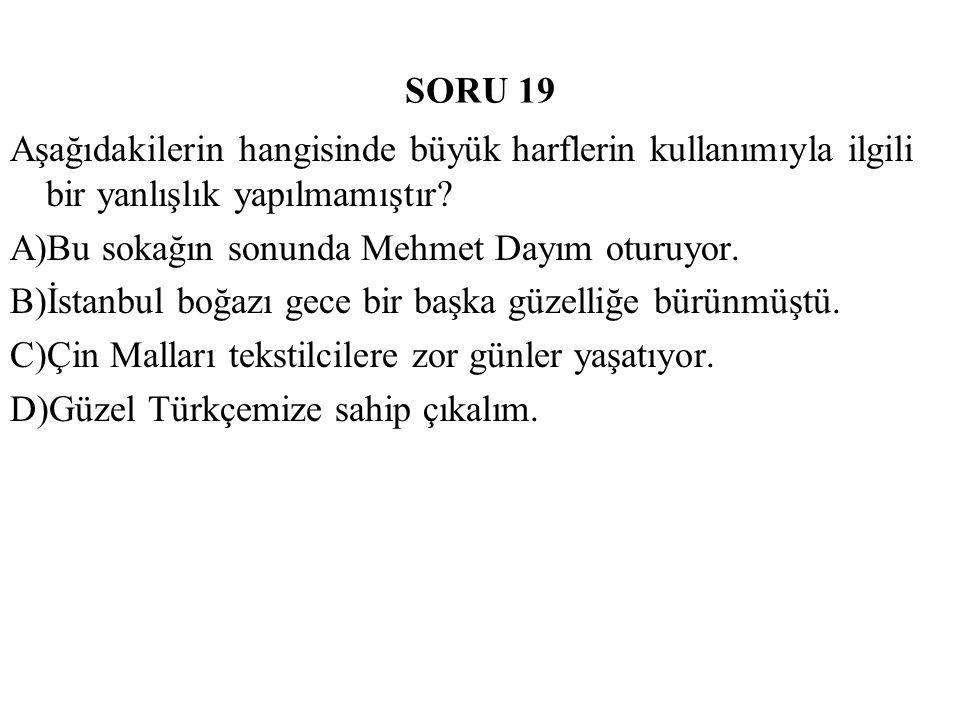 SORU 19 Aşağıdakilerin hangisinde büyük harflerin kullanımıyla ilgili bir yanlışlık yapılmamıştır A)Bu sokağın sonunda Mehmet Dayım oturuyor.