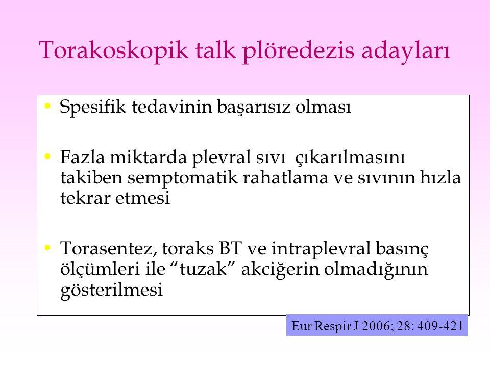Torakoskopik talk plöredezis adayları