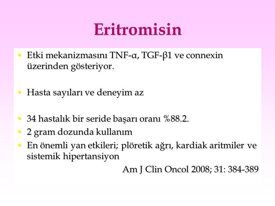 Eritromisin Etki mekanizmasını TNF-α, TGF-β1 ve connexin üzerinden gösteriyor. Hasta sayıları ve deneyim az.