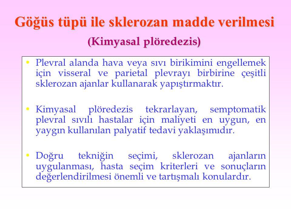 Göğüs tüpü ile sklerozan madde verilmesi (Kimyasal plöredezis)