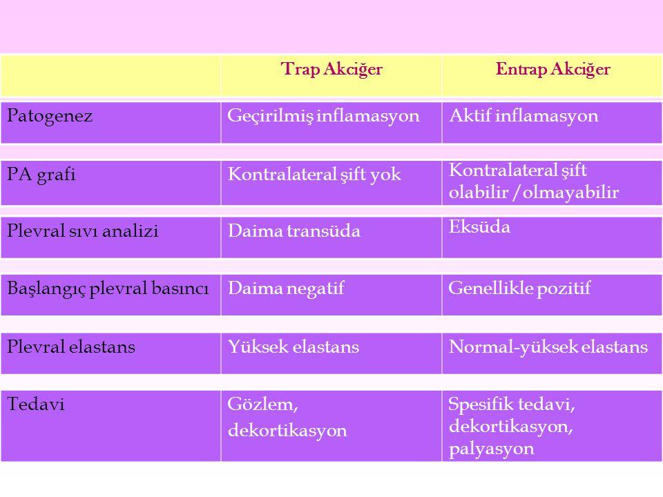 Trap Akciğer Entrap Akciğer. Patogenez. Geçirilmiş inflamasyon. Aktif inflamasyon. PA grafi. Kontralateral şift yok.