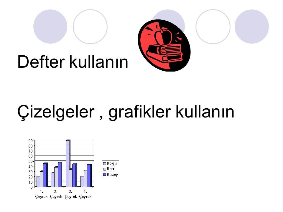 Defter kullanın Çizelgeler , grafikler kullanın
