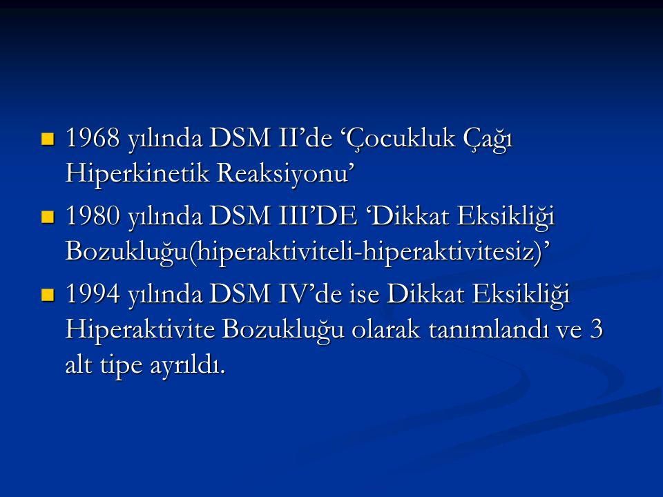 1968 yılında DSM II'de 'Çocukluk Çağı Hiperkinetik Reaksiyonu'