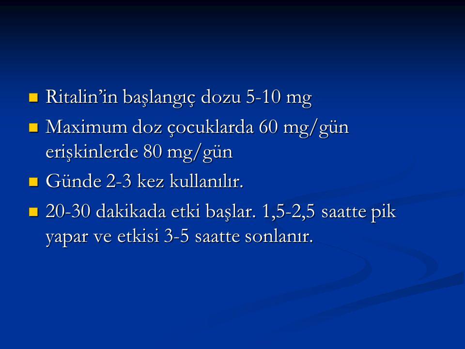 Ritalin'in başlangıç dozu 5-10 mg