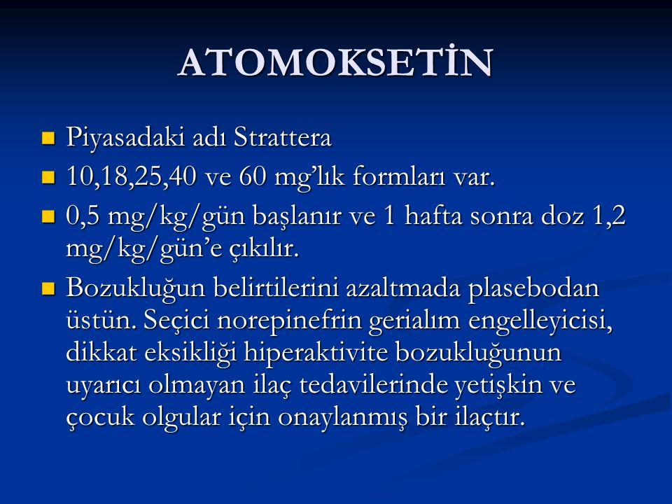 ATOMOKSETİN Piyasadaki adı Strattera