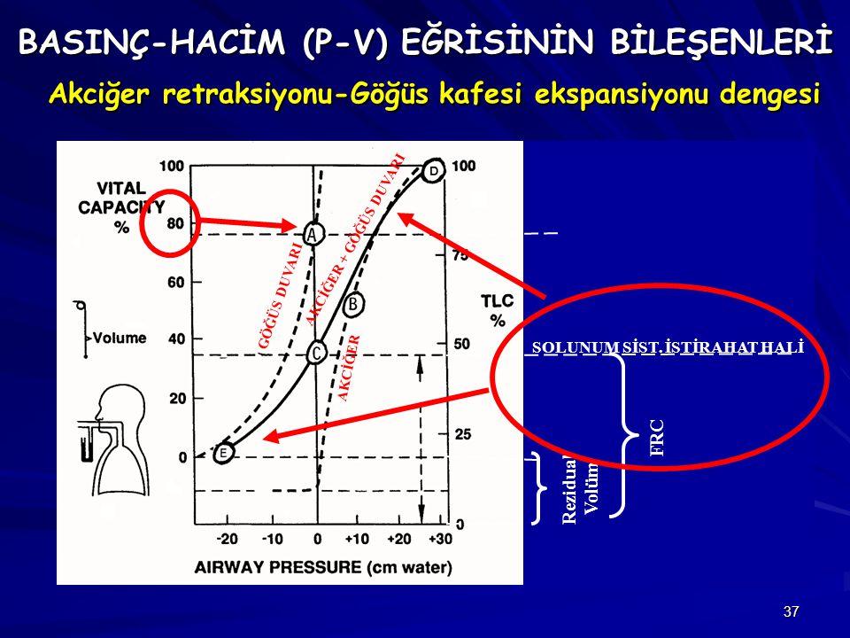 BASINÇ-HACİM (P-V) EĞRİSİNİN BİLEŞENLERİ Akciğer retraksiyonu-Göğüs kafesi ekspansiyonu dengesi