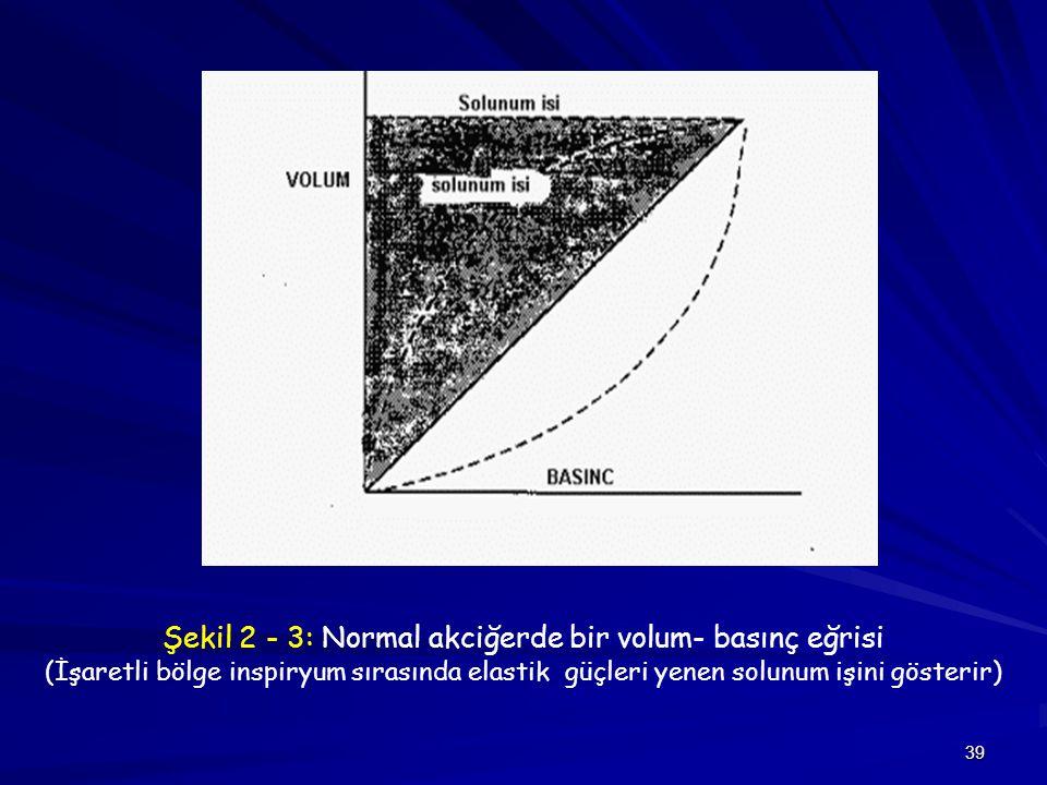 Şekil 2 - 3: Normal akciğerde bir volum- basınç eğrisi