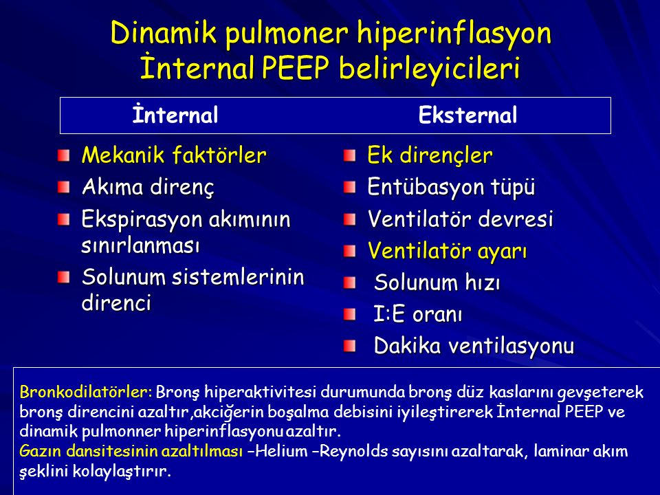 Dinamik pulmoner hiperinflasyon İnternal PEEP belirleyicileri