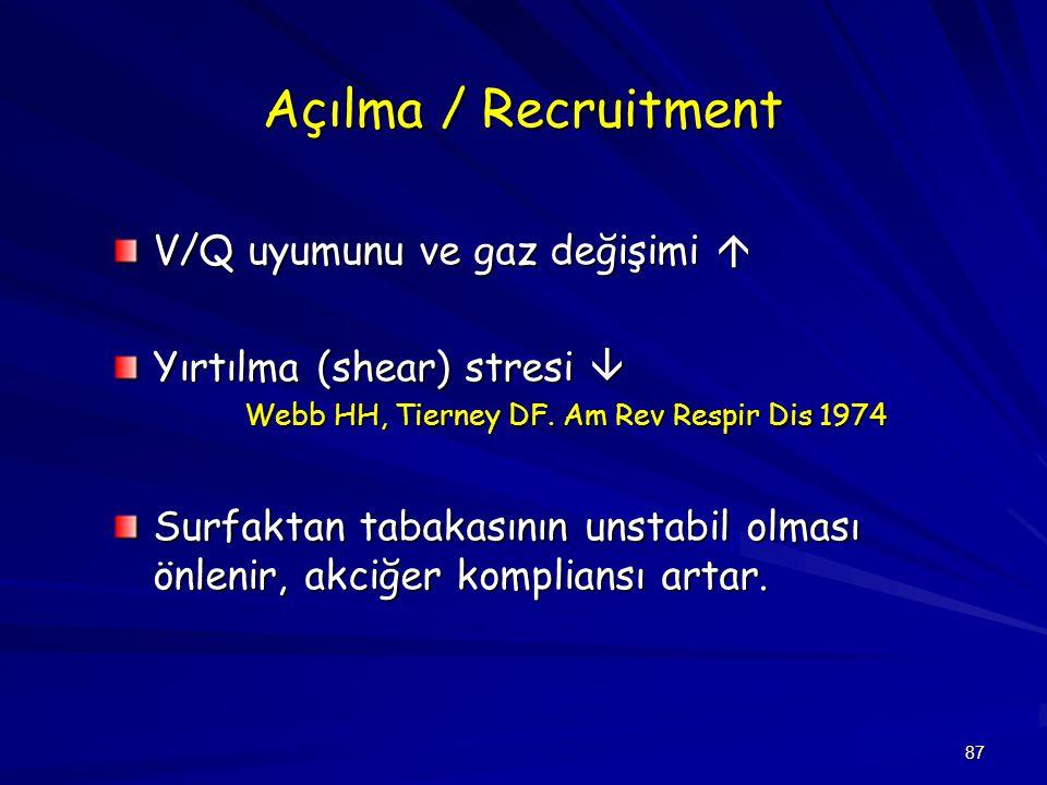 Açılma / Recruitment V/Q uyumunu ve gaz değişimi 