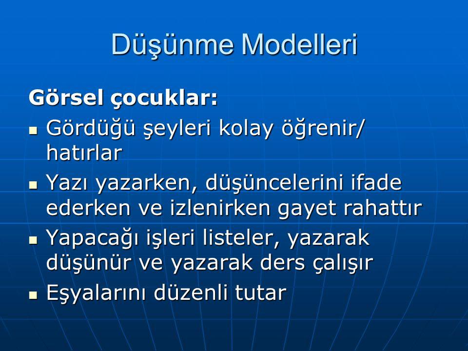 Düşünme Modelleri Görsel çocuklar: