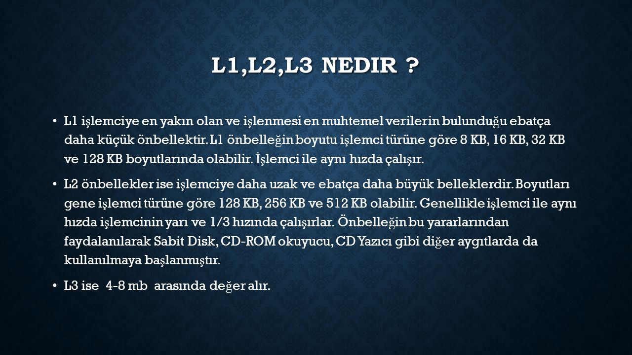 L1,l2,l3 nedir