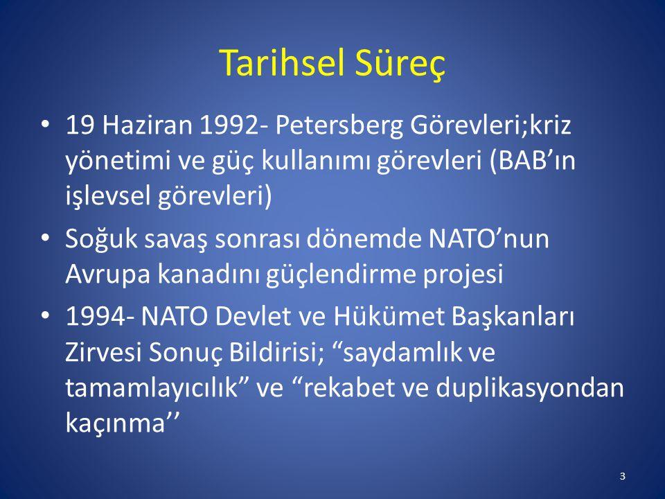 Tarihsel Süreç 19 Haziran 1992- Petersberg Görevleri;kriz yönetimi ve güç kullanımı görevleri (BAB'ın işlevsel görevleri)