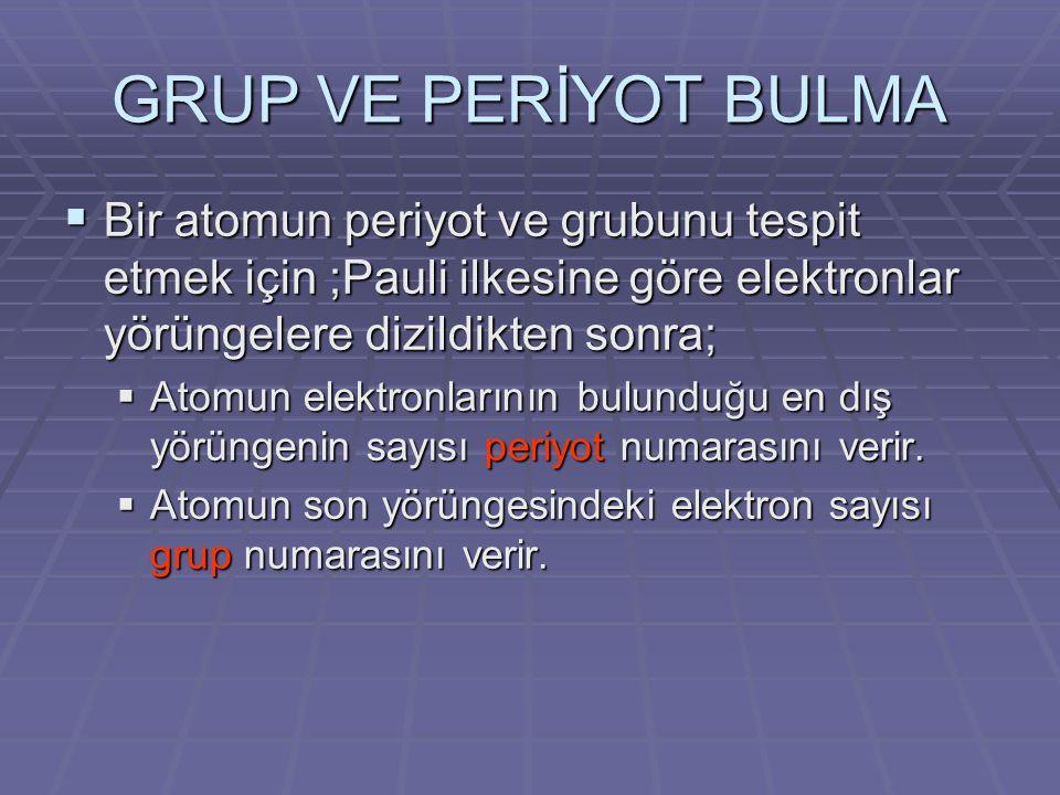 GRUP VE PERİYOT BULMA Bir atomun periyot ve grubunu tespit etmek için ;Pauli ilkesine göre elektronlar yörüngelere dizildikten sonra;