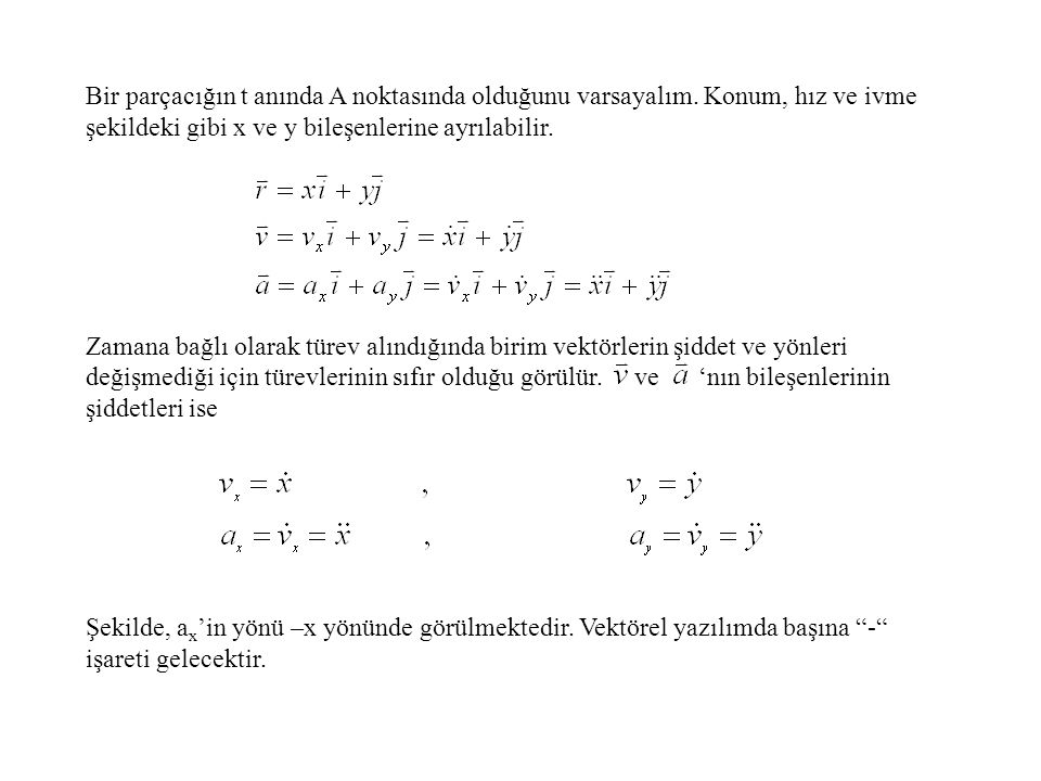 Bir parçacığın t anında A noktasında olduğunu varsayalım