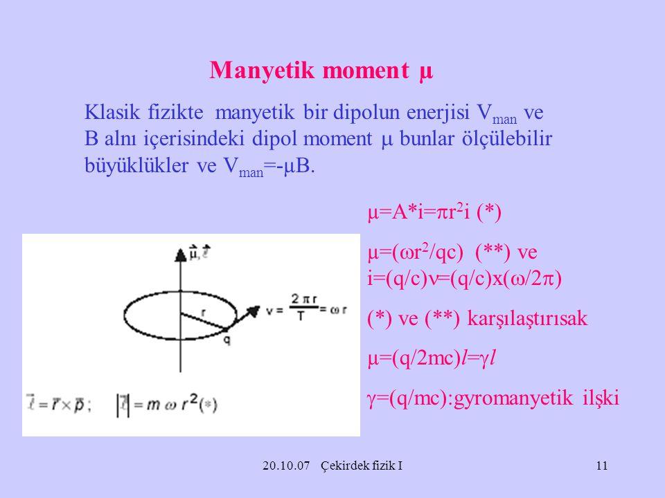 Manyetik moment µ
