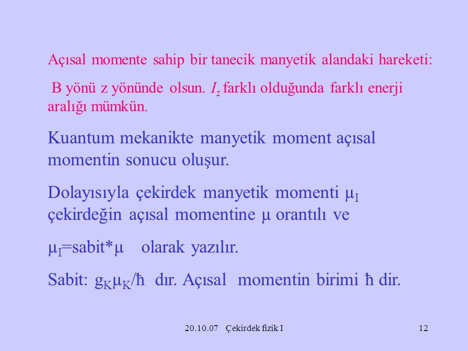 Kuantum mekanikte manyetik moment açısal momentin sonucu oluşur.
