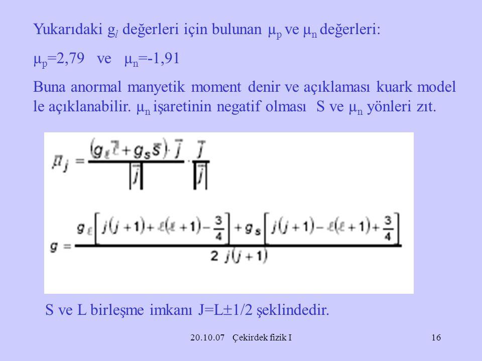 Yukarıdaki gl değerleri için bulunan µp ve µn değerleri:
