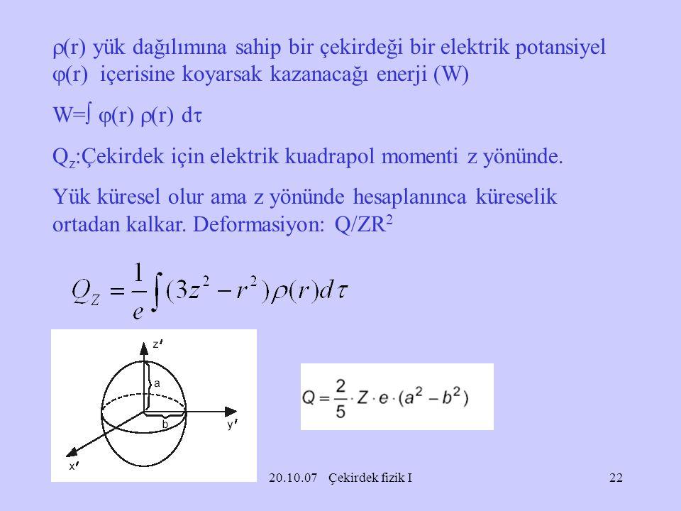 Qz:Çekirdek için elektrik kuadrapol momenti z yönünde.