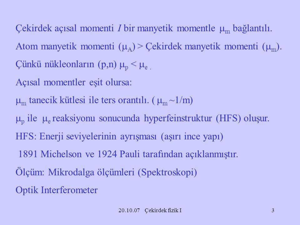Çekirdek açısal momenti I bir manyetik momentle m bağlantılı.