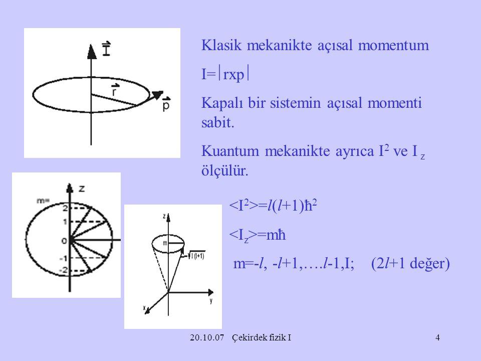 Klasik mekanikte açısal momentum I=rxp