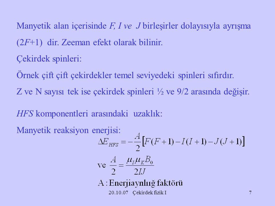 Manyetik alan içerisinde F, I ve J birleşirler dolayısıyla ayrışma