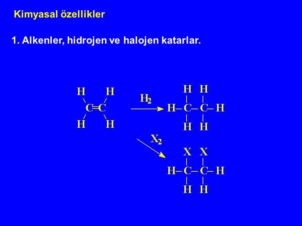 Kimyasal özellikler 1. Alkenler, hidrojen ve halojen katarlar.