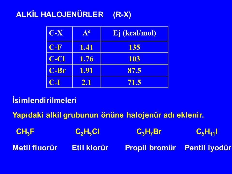 ALKİL HALOJENÜRLER (R-X)