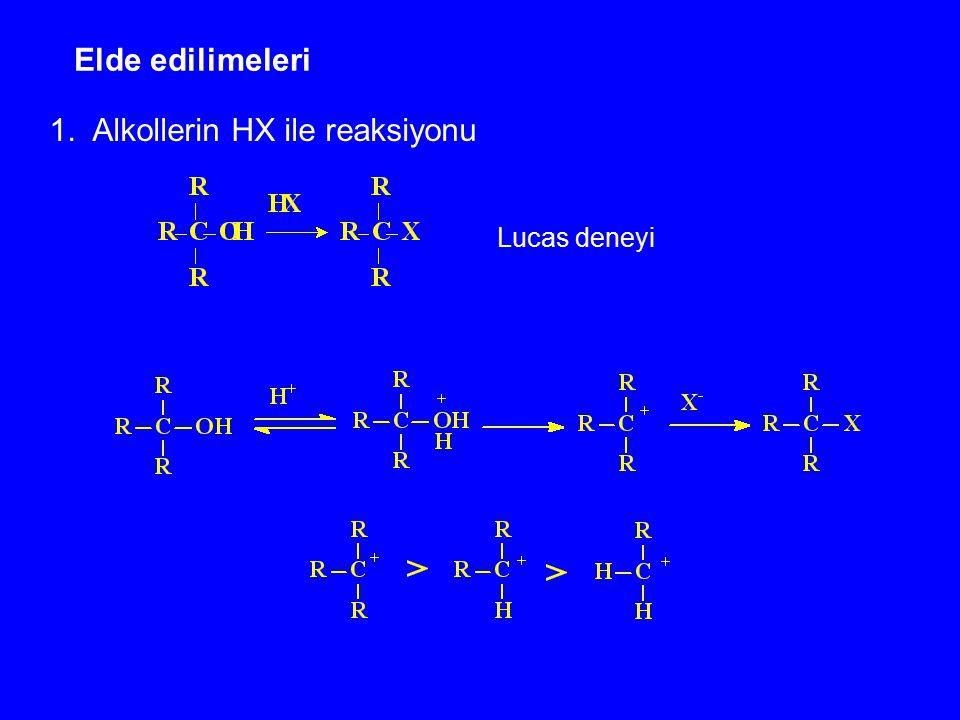 1. Alkollerin HX ile reaksiyonu
