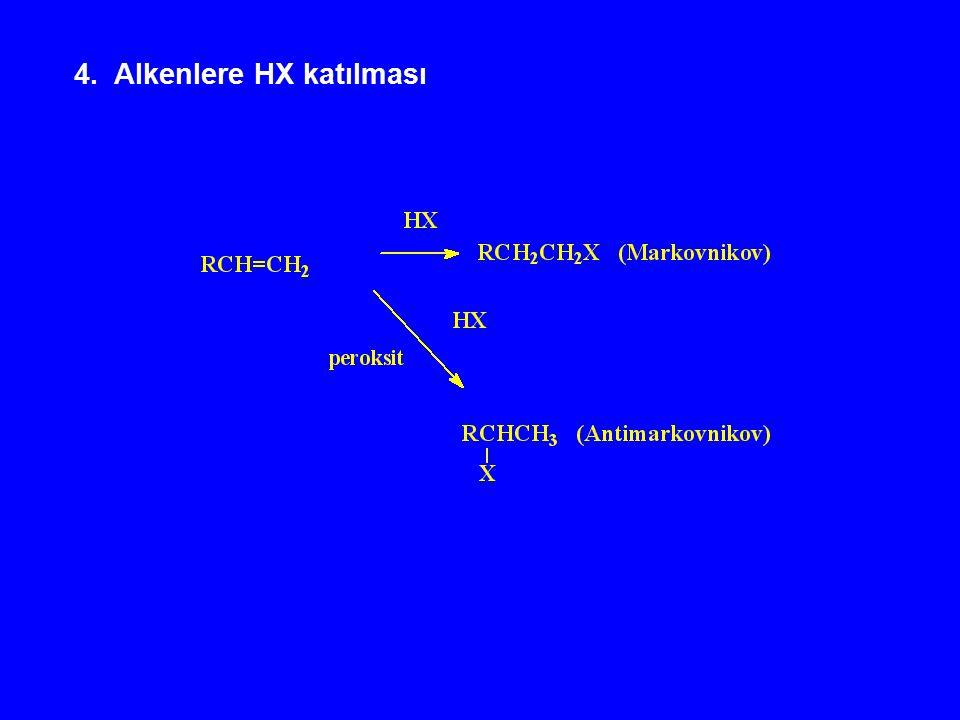 4. Alkenlere HX katılması